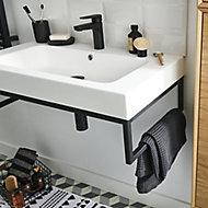 Équerre porte-serviettes pour vasque GoodHome Duala métal noir 80 cm + plan vasque blanc GoodHome Mila 80 cm