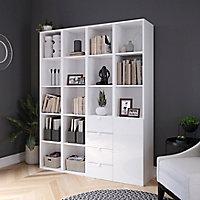 Étagère bibliothèque avec tiroirs et porte blanche brillante GoodHome Atomia H. 187,5 x L. 150 x P. 37 cm