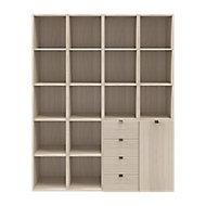 Étagère bibliothèque avec tiroirs et porte effet chêne GoodHome Atomia H. 187,5 x L. 150 x P. 37 cm