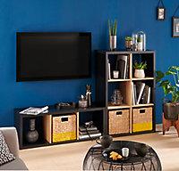 Étagère bicolore 3 cases noir/chêne