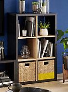 Étagère bicolore 6 cases noir/chêne