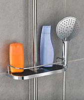 Étagère de douche chromée universelle avec support de douchette