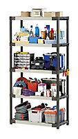 Étagère de garage 5 plateaux anthracite en PVC Grosfillex Workline H. 175 x L. 90 x P. 40 cm