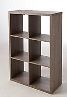 Étagère modulable 6 cubes effet chêne gris Mixxit