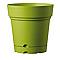 Vase rond à réserve d'eau plastique DEROMA Samba olive Ø22 x h.22 cm