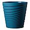 Vase rond plastique Deroma Slinky bleu cobalt Ø35 x h.35 cm
