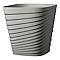 Pot carré plastique Deroma Slinky gris écume 30 x 30 x h.30 cm