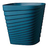 Pot carré plastique Deroma Slinky bleu cobalt 30 x 30 x h.30 cm