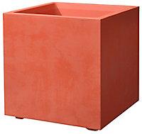 Jardiniere cube Millennium Deroma coloris argile 39 cm