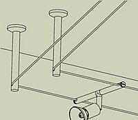 1 paire renvoi d'angle/support chrome pour système à câbles