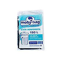 10 sacs poubelle renforcés noirs 150L