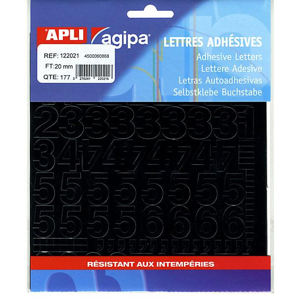 177 Chiffres Symboles Adhesifs H 20 Mm Noir Castorama
