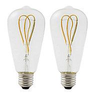 2 ampoules à filament LED Diall E27 4W blanc chaud