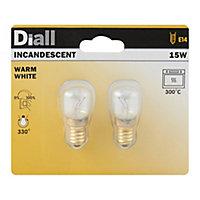 2 ampoules incandescentes Diall E14 2700K T22 15W