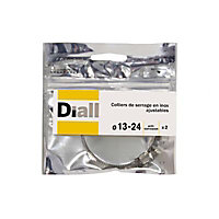 2 colliers de serrage Diall inox L8 x ø13 - 24 mm