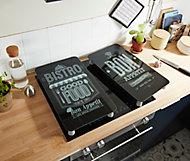 2 plaques de protection verre trempé motif Bon Appétit