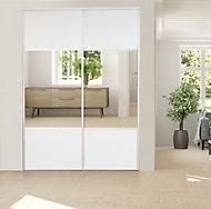 2 portes de placard coulissantes avec miroir Optimum blanc veiné H. 250 x L. 150 cm