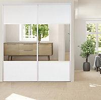 2 portes de placard coulissantes avec miroir Optimum blanc veiné H. 250 x L. 180 cm
