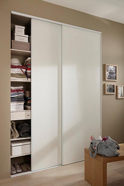 2 portes de placard coulissantes blizz blanc veine 180 x 250 cm