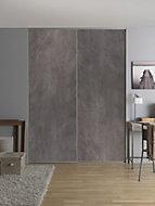 2 portes de placard coulissantes décor aspect béton 120 x 250 cm