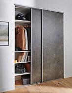 2 portes de placard coulissantes décor aspect béton 180 x 250 cm