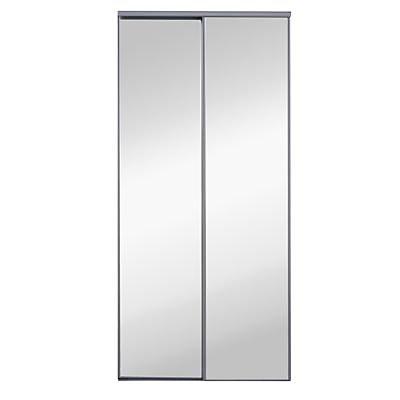 2 Portes De Placard Coulissantes Miroir Grises 120 X 250 Cm Castorama