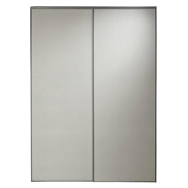 2 Portes De Placard Coulissantes Sous Combles Grises Pretes A Peindre 120 X 120 Cm Castorama