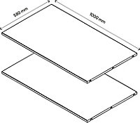 2 tablettes effet chêne GoodHome Atomia L. 96,4 x P.56,2 cm