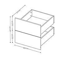 2 tiroirs couvrants chêne Form Darwin 50 cm
