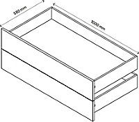 2 tiroirs extérieurs effet chêne GoodHome Atomia P58 l100 cm