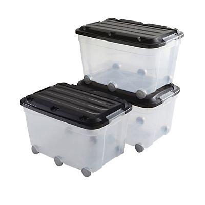 3 Bacs De Rangements A Roulettes Avec Couvercle Plastique Klipso 60l Transparent Noir Castorama