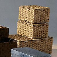 3 boîtes de rangement avec couvercle en jonc de mer Coco