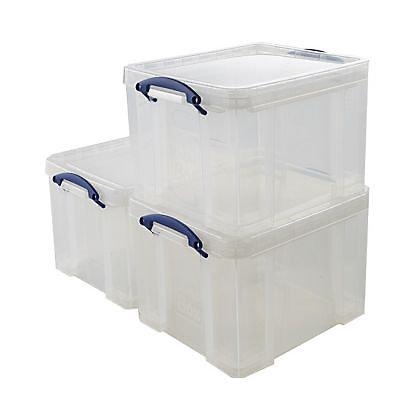 3 Boites De Rangement En Plastique 35l Transparent Castorama