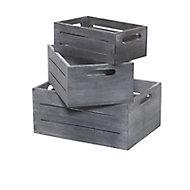 3 caisses de rangement en pin Kazan coloris gris