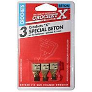 3 crochets de fixation X spécial béton