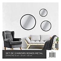 3 miroirs ronds noir Ø30, Ø20, Ø15 cm