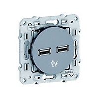 Prise double USB Schneider electric Odace Aluminium