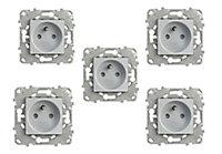 Prise 2 pôles + terres Schneider Electric Unica Alu - 5 pièces