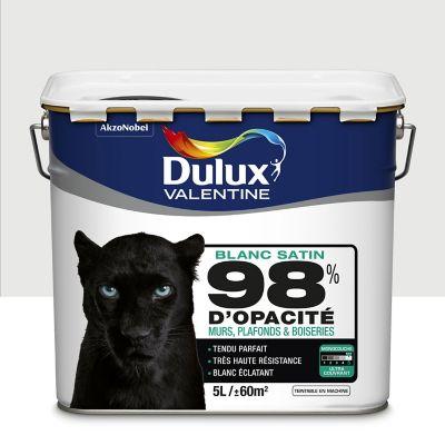 Peinture murs plafonds et boiseries DULUX VALENTINE 98% monocouche blanc satin 5L