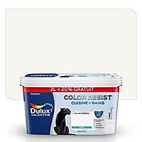 Peinture cuisine et salle de bain Dulux Valentine Color resist blanc satin 2L + 20% gratuit