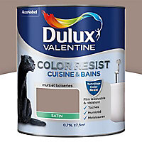 Peinture cuisine et salle de bain Dulux Valentine Color resist taupe satin 0,75L