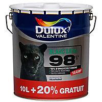 Peinture murs, plafonds et boiseries Dulux Valentine 98% monocouche blanc satin 10L + 20% gratuit