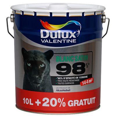 Peinture murs plafonds et boiseries Dulux Valentine 98% monocouche blanc satin 10L + 20% gratuit