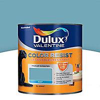 Peinture murs et boiseries Dulux Valentine Color resist bleu verre mat 1L