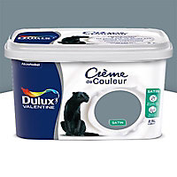 Peinture murs et boiseries Dulux Valentine Crème de couleur bleu gris satin 2,25L