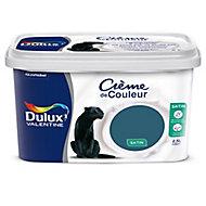 Peinture murs et boiseries Dulux Valentine Crème de couleur bleu paon satin 2,5L
