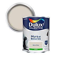 Peinture murs et boiseries Dulux Valentine gris chic satin 0,75L