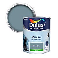 Peinture murs et boiseries Dulux Valentine bleu gris satin 0,75L