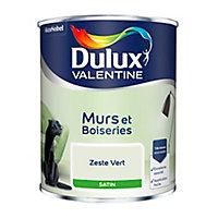 Peinture murs et boiseries Dulux Valentine zeste vert satin 0,75L