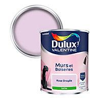 Peinture murs et boiseries Dulux Valentine rose dragée satin 0,75L